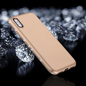 Voor iPhone X / XS Crystal Decor Kanten Frosted Soft TPU Protective Back Case (Goud)