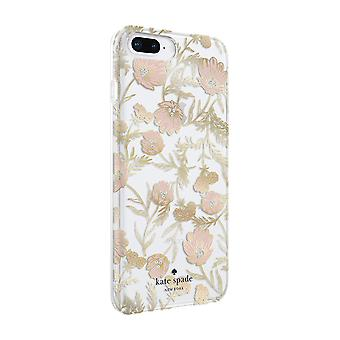 kate spade Flexible Hardshell Case for iPhone 8 Plus/7 Plus - Blossom Pink/Gold with Gems