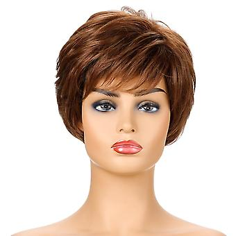 Women's Wig Women's Short Curly Hair Chemical Fiber High-Temperature Fiber Wig Head Cover