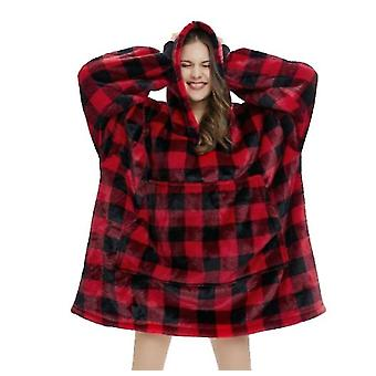 Lazy Tv Hooded Sweater Blanket Unisex Long Nightgown Giant Kangaroo Pocket