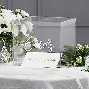 "OnDisplay 10"" Luxe Acrylic Clear Wedding Card Box w/Lid - Lucite Gift/Money Box - Bar Mitzvah/Birthday/Sweet 16/Anniversary"