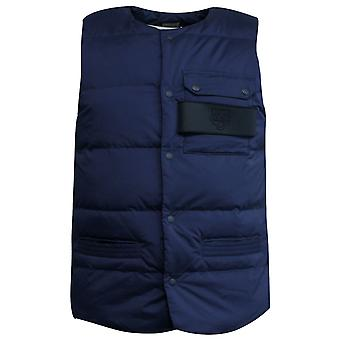 Onitsuka Tiger Mens Casual Sleeveless Quilted Gilet Vest Navy OKJ371 0050 Y37B