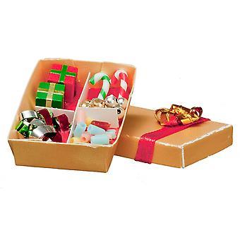 دمى البيت مربع من زينة عيد الميلاد شجرة الحلي 1:12 مقياس التبعي