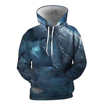 Mens 3d Colorful Galaxy Printed Stone Blue Hoodies With Pockets