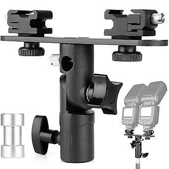 Chromlives dual flash bracket hot shoe speedlight stand umbrella holder light stand bracket mount 1/