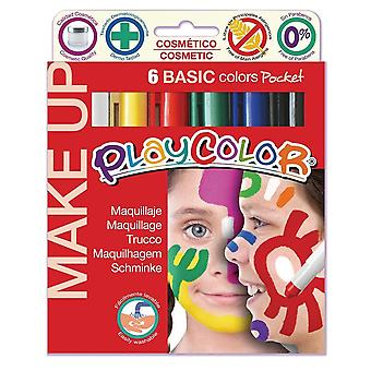 Playcolor 01001 5 g basic make up pocket face paint stick (pack of 6)