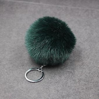כדור קטיפה פשוט כדור פומפון מחזיק מפתחות בעלי חיים מלאכותי