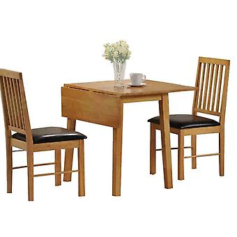 Paray 2SeaterSet In Pine Brown Drop Leaf Space Saving Table