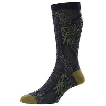 Pantherella Ficus Folha Floral Fil D'Ecosse Socks - Marinha