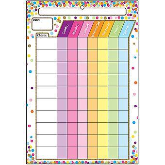 "Smart Poly Chart, 13"" X 19"", Konfetti Chores, W/Grommet"
