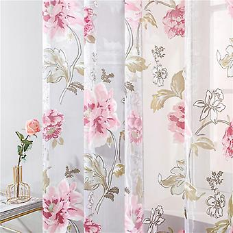 Floral Tulle Curtains, Shade Window Treatment, Blinds Panel For Living Room,
