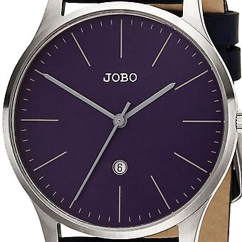 JOBO Women's Watch Quartz Analog Stainless Steel Leather Strap Blue Date Women's Watch