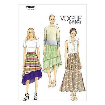 Vogue coser patrones 8981 se pierde falda forrada tamaño XS-MD