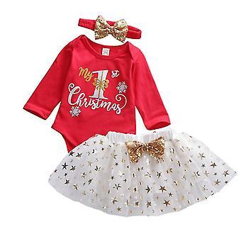Baby Weihnachten Tops Strampler + Tüll Kleid