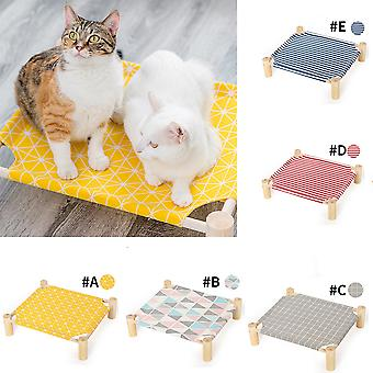 Elevated Cat Bed House Cat Hammocks Bed Wood Canvas Cat Lounge Bed for Small Rabbit Cats Dogs Durable Canvas Pet House Supplies