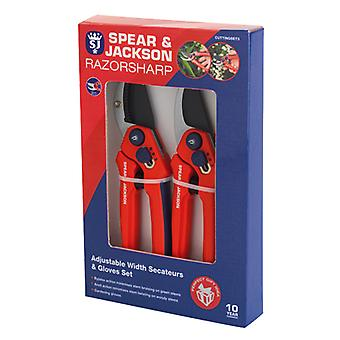 Spear and Jackson CUTTINGSET3 Adjustable Bypass and Anvil Secateurs and Gloves