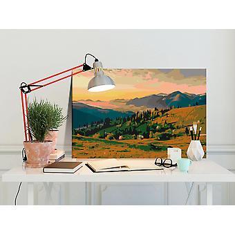 Tee se-itse-kangasmaalaus - Vuoret Auringonnousun aikaan-60x40