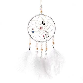 Unicorn Feather Dream Catcher Room Decoration Wall Hanging Car Rear Pendant With String Light