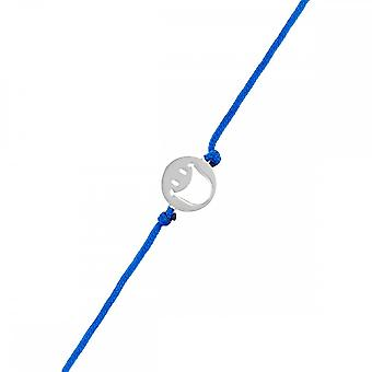 Smiley silver cord bracelet and blue cord 'apos;Happy's;
