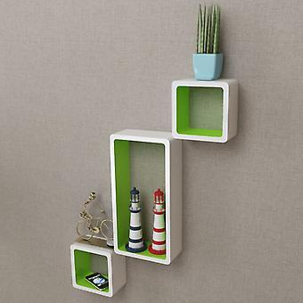 vidaXL الجدار رفوف الرف مكعبات 6 PCS. أبيض وأخضر