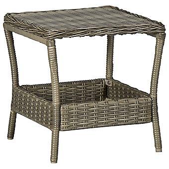 vidaXL Садовый стол Коричневый 45x45x46,5 см Поли Ротанг