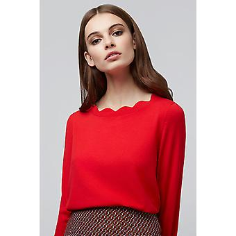 Louche Womens Sonja Scallop Neck Long Sleeve Jumper Red