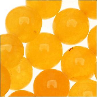 Ädelstenspärlor, Jade, Rund 8mm, 14,5 Tums Strand, Gul Honung