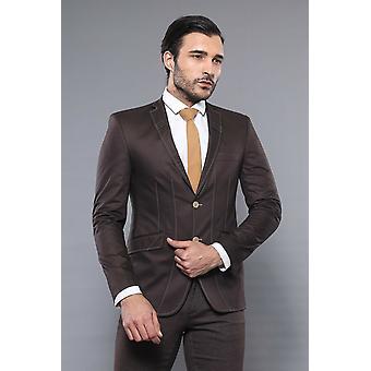 Slim fit kaksi painiketta ruskea takki | Kävi koulua wessi