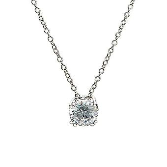 Eye Candy - Women's necklace, sterling silver 925 rhodium, pendant with 8 white zircons, 46 cm - ECJ-NL0061