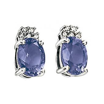 9 CT witgoud Iolite en Diamond Earring