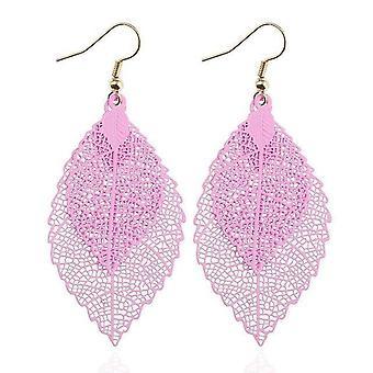 Vintage Leaves Drop Boucles d'oreilles Luxe Boho Bohemian Leaf Dangle Boucles d'oreilles Hollow Out
