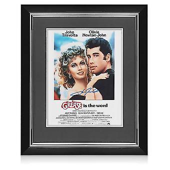 John Travolta signeerasi Grease Film Posterin. Deluxe-kehys