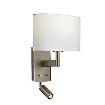 Wandlamp met leeslampje antieke bronzen plaat, vintage witte stof ovale schaduw
