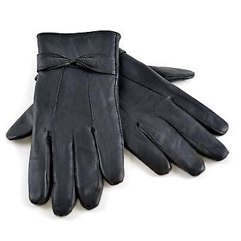 Damen Schaffell Lederhandschuhe mit Schleife