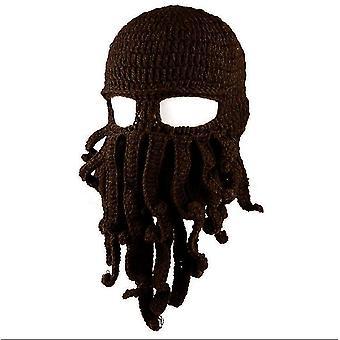 Dunkle Kaffee Oktopus Hut lustige maskierte handgemachte gehäkelte Wolle warmen Hut az9430