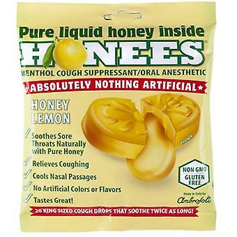 Honees Cough Drops Honing Citroen Menthol, 20 Zuigtabletten