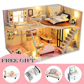 Cutebee diy dollhouse kit wooden doll house miniature house furniture kit toys for children christmas gift td32