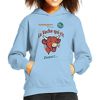 Den grinende ko smil Kid's hætteklædte sweatshirt