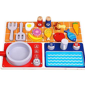 Children's wooden building block toys, early education kitchen gas stove toys