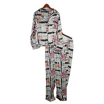 Tolani Coleção Conjunto de Pijama Feminino Plus Impressão Botão Tecido Branco A390127