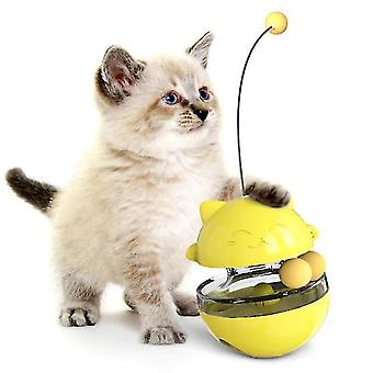Brinquedos de gato rotativo sacudindo bola de comida vazando vara de bola ajustável lanche slow food interativo (amarelo)