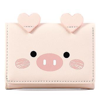 Kurze dreifache Geldbörse Multi-Card Damen Geldbörse (Pink)