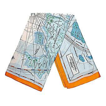 Bufanda con motivos de mapa - Azul y Naranja, No. 28