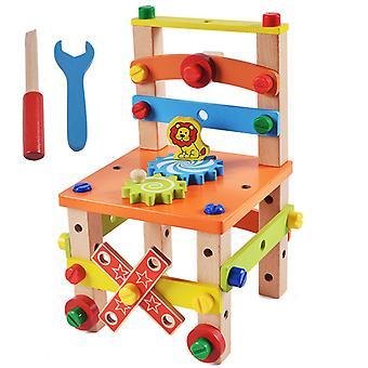 ילדים עסוקים לוח צבעוני רב תכליתי הרכבה כיסא צעצועים עיצוב עץ פירוק כלי לילדים לומד צעצוע עץ חינוכי