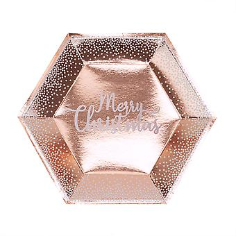 Merry Christmas Rose Gold & White Dots Plate - Large