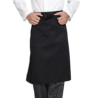 Short Waist Apron With Pockets Adjustable Catering Chef Bib Chef Uniform