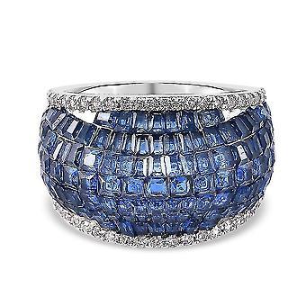 Lustro Stella Blue Cubic Zirconia Dome Ring in Silber Jubiläumsgeschenk 3.66ct(Q)