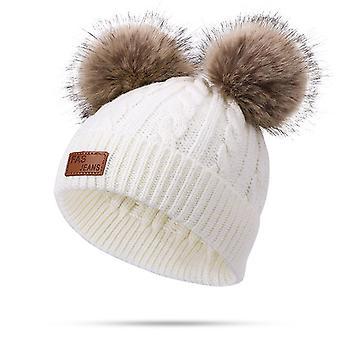 פעוט צמר צמר כובע חורף טוויסט כפול פום פום סרוגים כובע שעועית ורוד