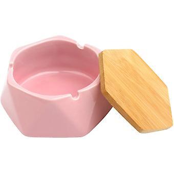 Keramik Aschenbecher mit Deckel für Zigarette winddichter Aschenbecher für Outdoor Home Office Bar Cafe Hotel Dekoration (rosa)
