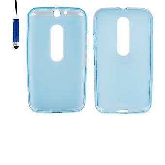 Crystal Gel Case + Stift für Motorola Moto G3 (3rd Gen 2015) - Deep Blue